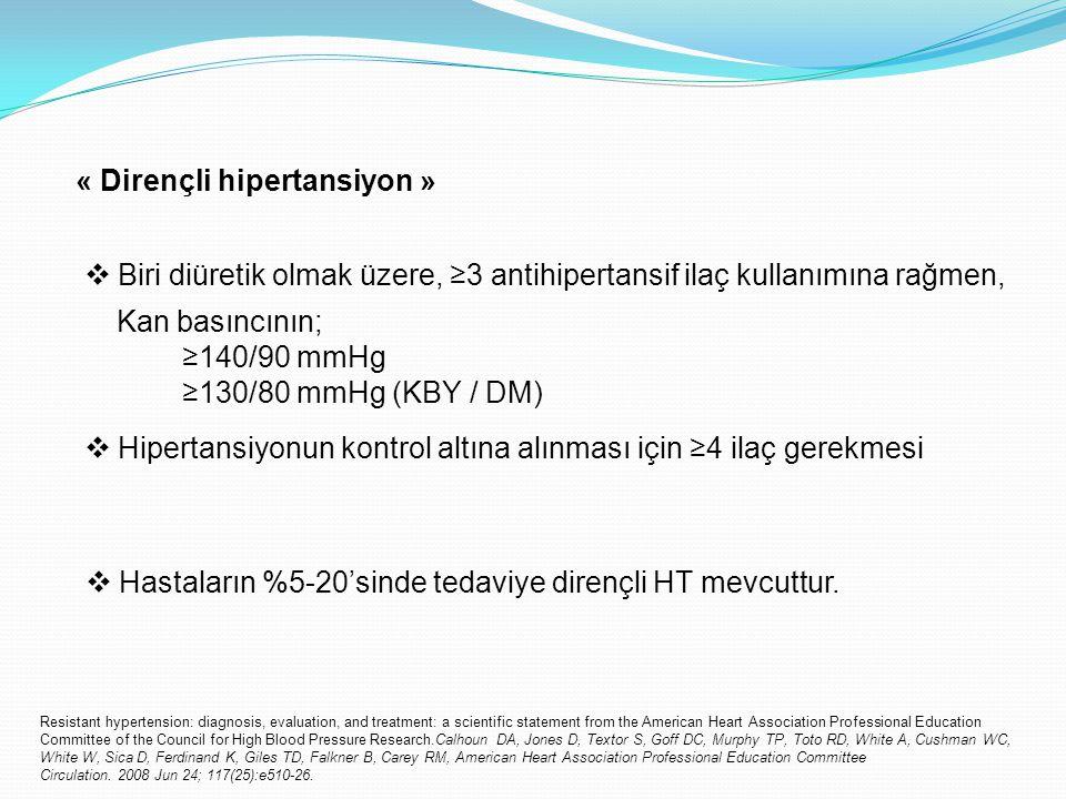 « Dirençli hipertansiyon » Kan basıncının; ≥140/90 mmHg ≥130/80 mmHg (KBY / DM)  Biri diüretik olmak üzere, ≥3 antihipertansif ilaç kullanımına rağme