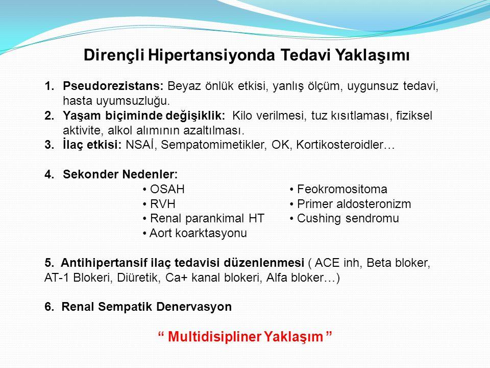 Dirençli Hipertansiyonda Tedavi Yaklaşımı 1.Pseudorezistans: Beyaz önlük etkisi, yanlış ölçüm, uygunsuz tedavi, hasta uyumsuzluğu. 2.Yaşam biçiminde d