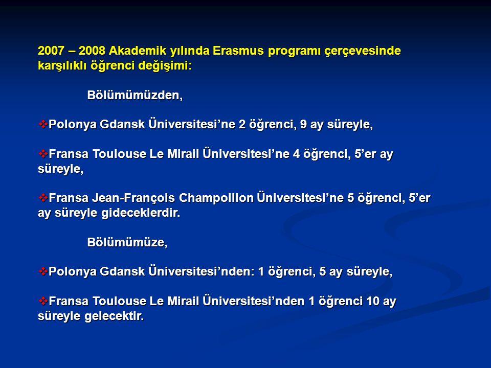 2007 – 2008 Akademik yılında Erasmus programı çerçevesinde karşılıklı öğrenci değişimi: Bölümümüzden,  Polonya Gdansk Üniversitesi'ne 2 öğrenci, 9 ay süreyle,  Fransa Toulouse Le Mirail Üniversitesi'ne 4 öğrenci, 5'er ay süreyle,  Fransa Jean-François Champollion Üniversitesi'ne 5 öğrenci, 5'er ay süreyle gideceklerdir.