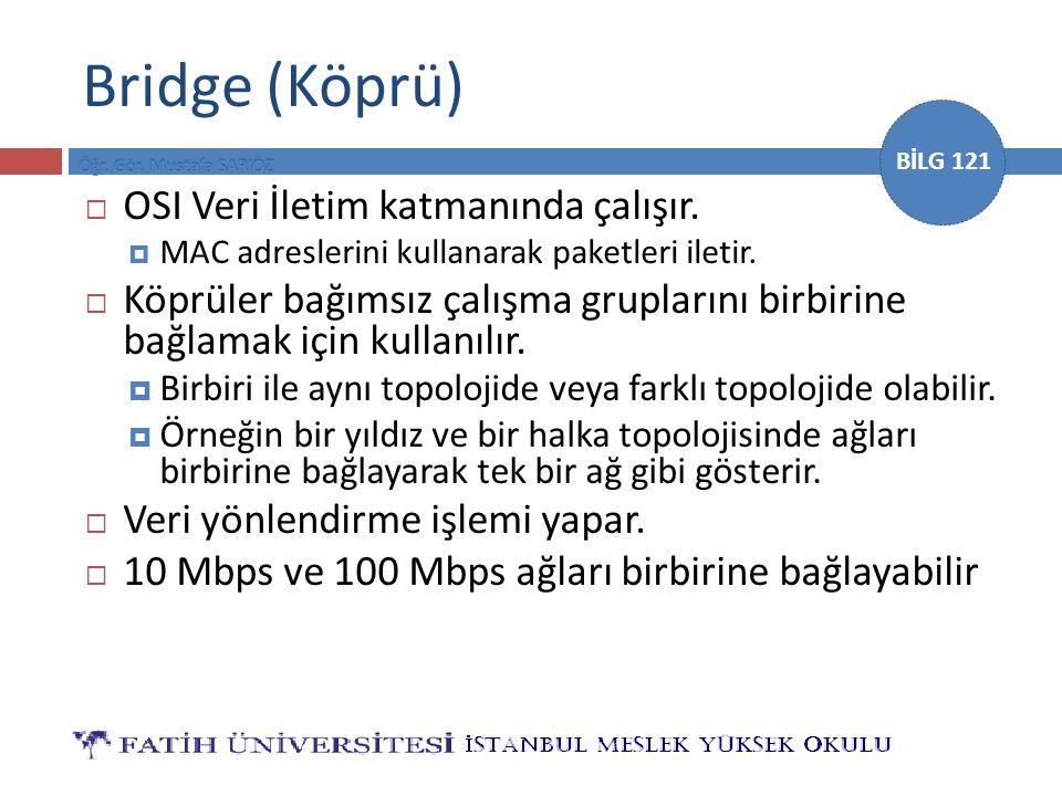 BİLG 121 Bridge (Köprü)  OSI Veri İletim katmanında çalışır.  MAC adreslerini kullanarak paketleri iletir.  Köprüler bağımsız çalışma gruplarını bi
