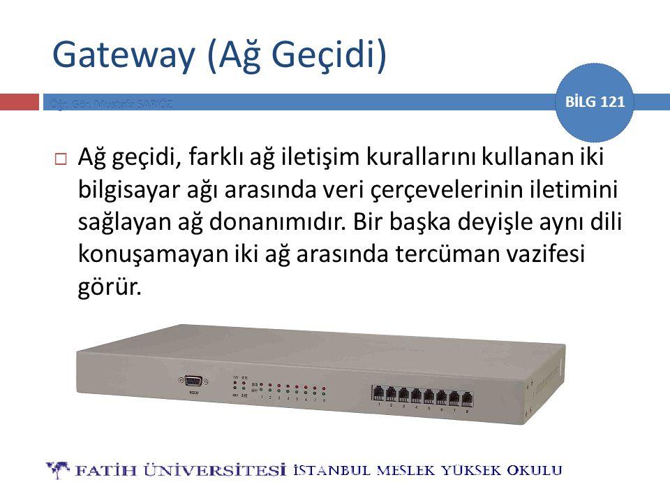 BİLG 121 Gateway (Ağ Geçidi)  Ağ geçidi, farklı ağ iletişim kurallarını kullanan iki bilgisayar ağı arasında veri çerçevelerinin iletimini sağlayan a
