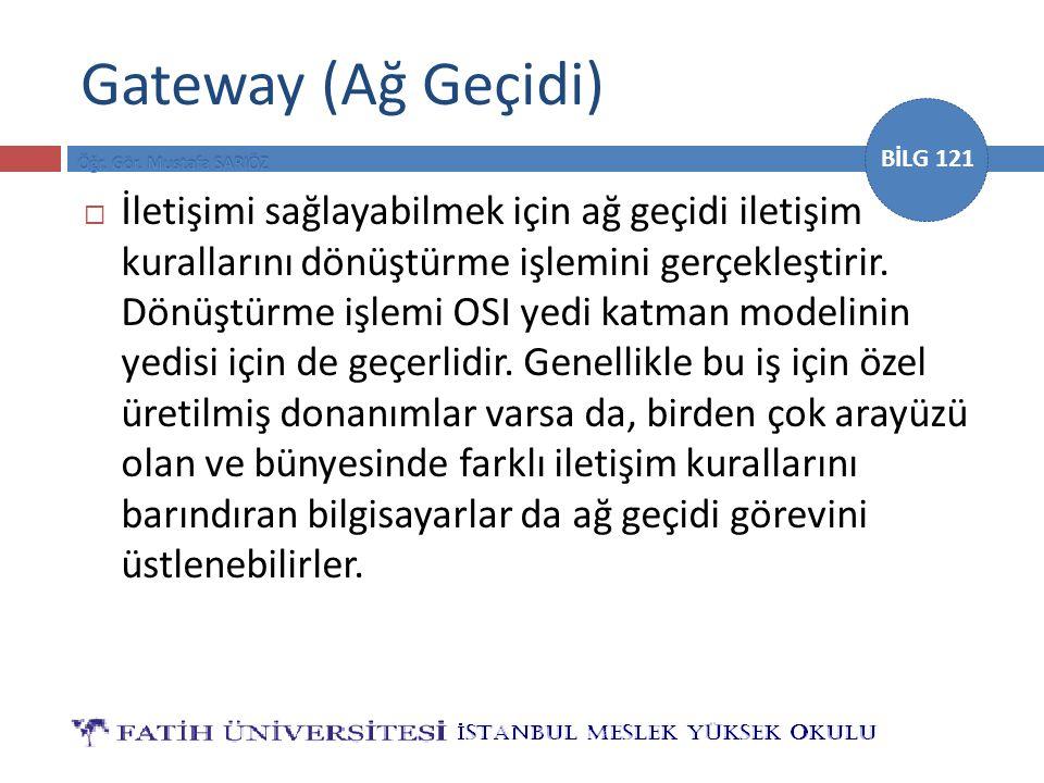 BİLG 121 Gateway (Ağ Geçidi)  İletişimi sağlayabilmek için ağ geçidi iletişim kurallarını dönüştürme işlemini gerçekleştirir. Dönüştürme işlemi OSI y
