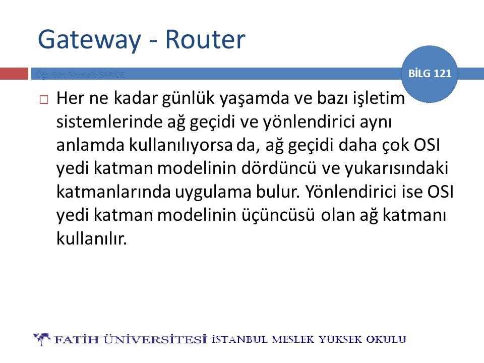 BİLG 121 Gateway - Router  Her ne kadar günlük yaşamda ve bazı işletim sistemlerinde ağ geçidi ve yönlendirici aynı anlamda kullanılıyorsa da, ağ geç