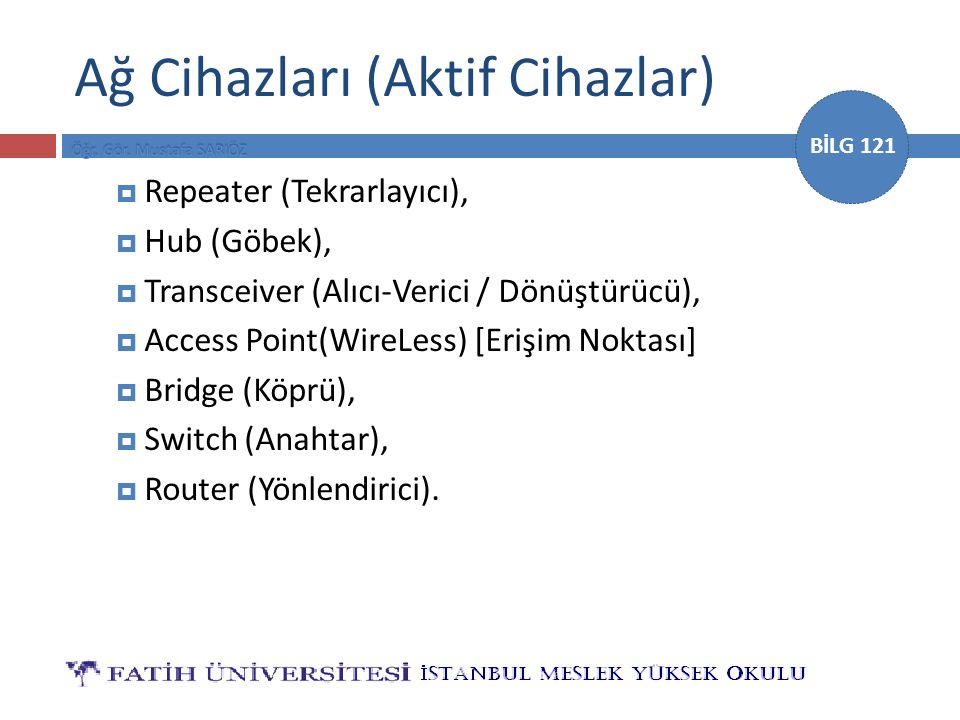 BİLG 121 Ağ Cihazları (Aktif Cihazlar)  Repeater (Tekrarlayıcı),  Hub (Göbek),  Transceiver (Alıcı-Verici / Dönüştürücü),  Access Point(WireLess)