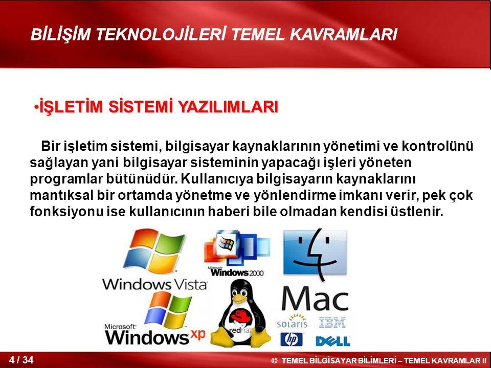 25 / 34 © TEMEL BİLGİSAYAR BİLİMLERİ – TEMEL KAVRAMLAR II BİLİŞİM TEKNOLOJİLERİ TEMEL KAVRAMLARI İki veya daha fazla bilgisayar sisteminin bağlanmasıyla oluşan yapıdır.