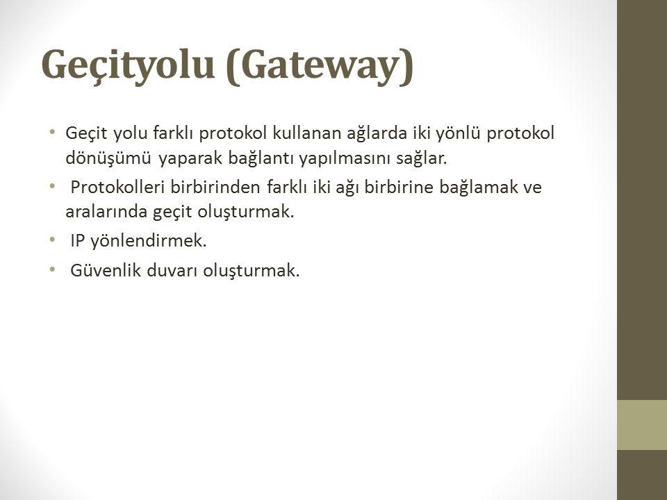 Geçityolu (Gateway) Geçit yolu farklı protokol kullanan ağlarda iki yönlü protokol dönüşümü yaparak bağlantı yapılmasını sağlar. Protokolleri birbirin