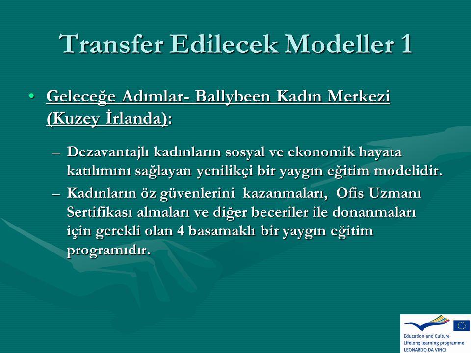Transfer Edilecek Modeller 1 Geleceğe Adımlar- Ballybeen Kadın Merkezi (Kuzey İrlanda):Geleceğe Adımlar- Ballybeen Kadın Merkezi (Kuzey İrlanda): –Dezavantajlı kadınların sosyal ve ekonomik hayata katılımını sağlayan yenilikçi bir yaygın eğitim modelidir.