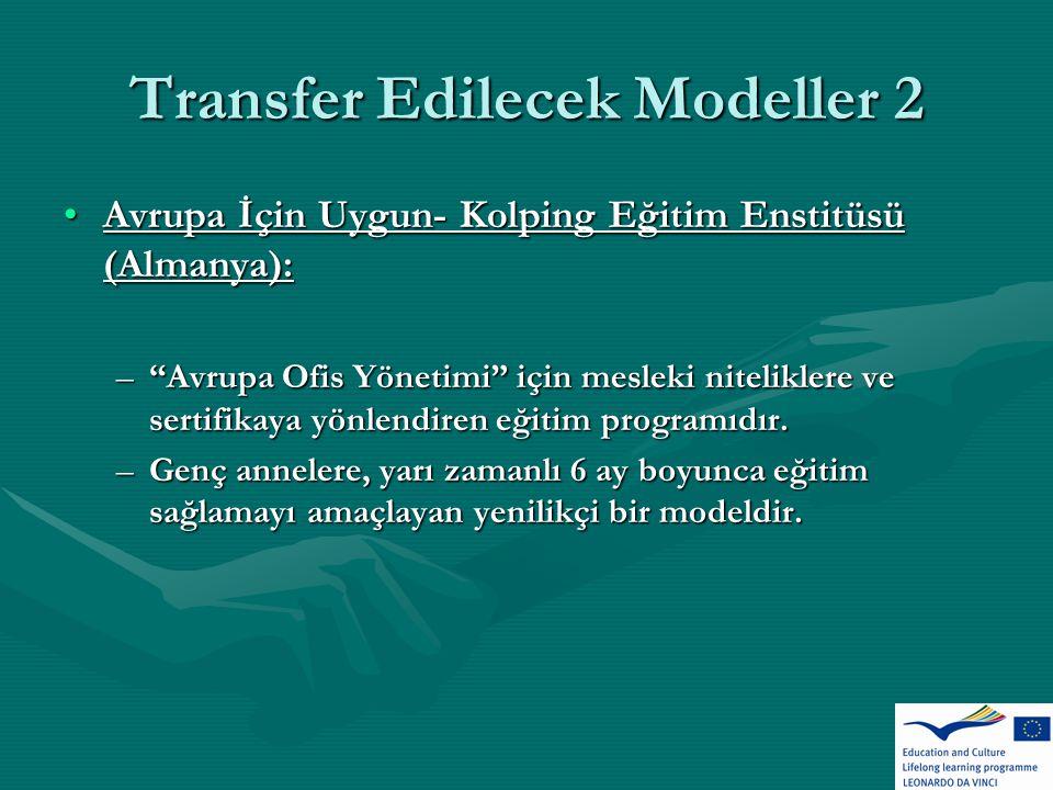 Transfer Edilecek Modeller 2 Avrupa İçin Uygun- Kolping Eğitim Enstitüsü (Almanya):Avrupa İçin Uygun- Kolping Eğitim Enstitüsü (Almanya): – Avrupa Ofis Yönetimi için mesleki niteliklere ve sertifikaya yönlendiren eğitim programıdır.