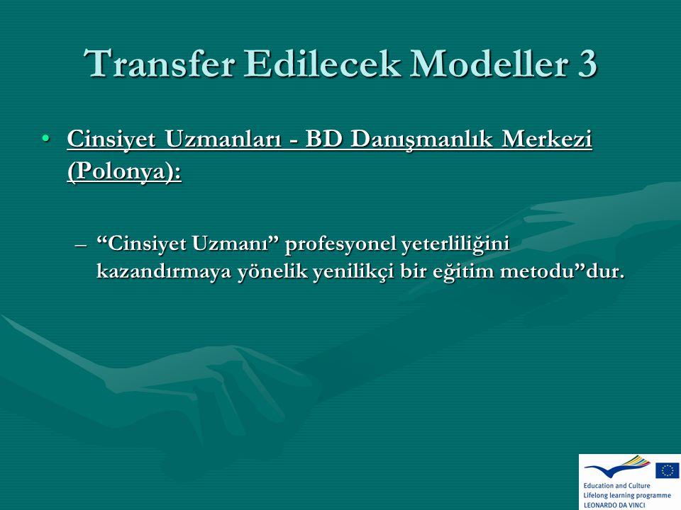 Transfer Edilecek Modeller 3 Cinsiyet Uzmanları - BD Danışmanlık Merkezi (Polonya):Cinsiyet Uzmanları - BD Danışmanlık Merkezi (Polonya): – Cinsiyet Uzmanı profesyonel yeterliliğini kazandırmaya yönelik yenilikçi bir eğitim metodu dur.