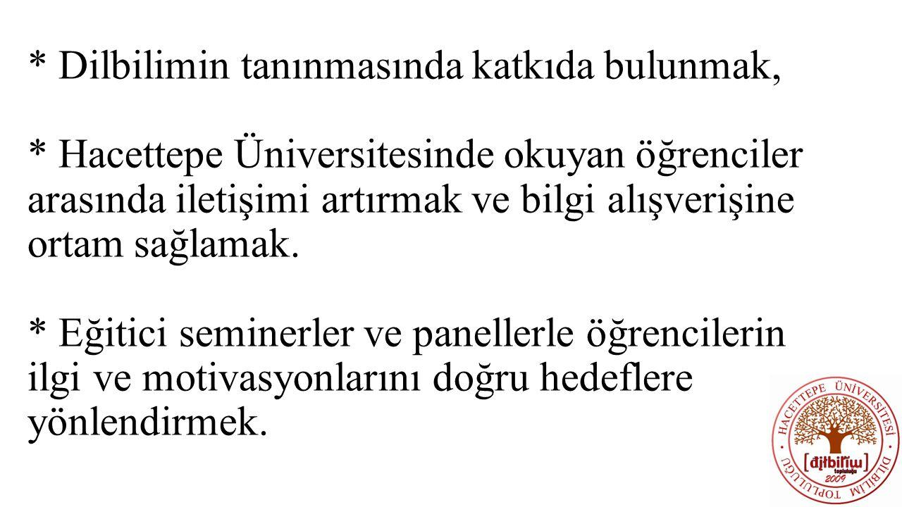* Dilbilimin tanınmasında katkıda bulunmak, * Hacettepe Üniversitesinde okuyan öğrenciler arasında iletişimi artırmak ve bilgi alışverişine ortam sağlamak.