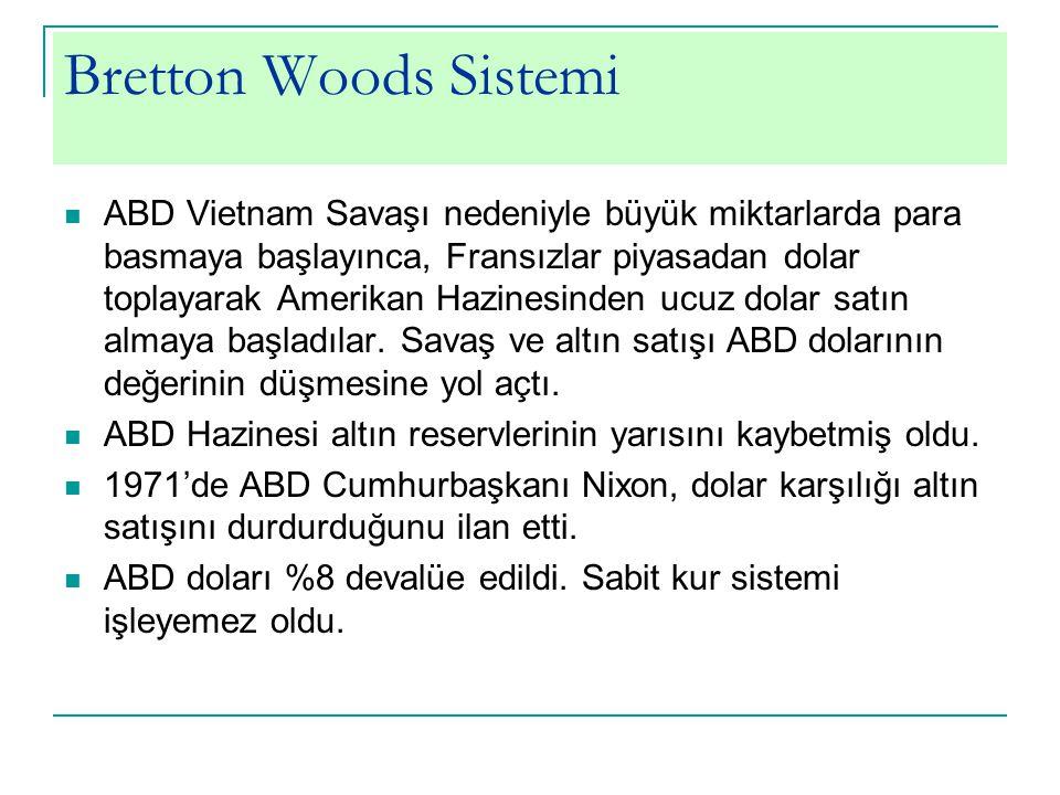 Bretton Woods Sistemi ABD Vietnam Savaşı nedeniyle büyük miktarlarda para basmaya başlayınca, Fransızlar piyasadan dolar toplayarak Amerikan Hazinesin
