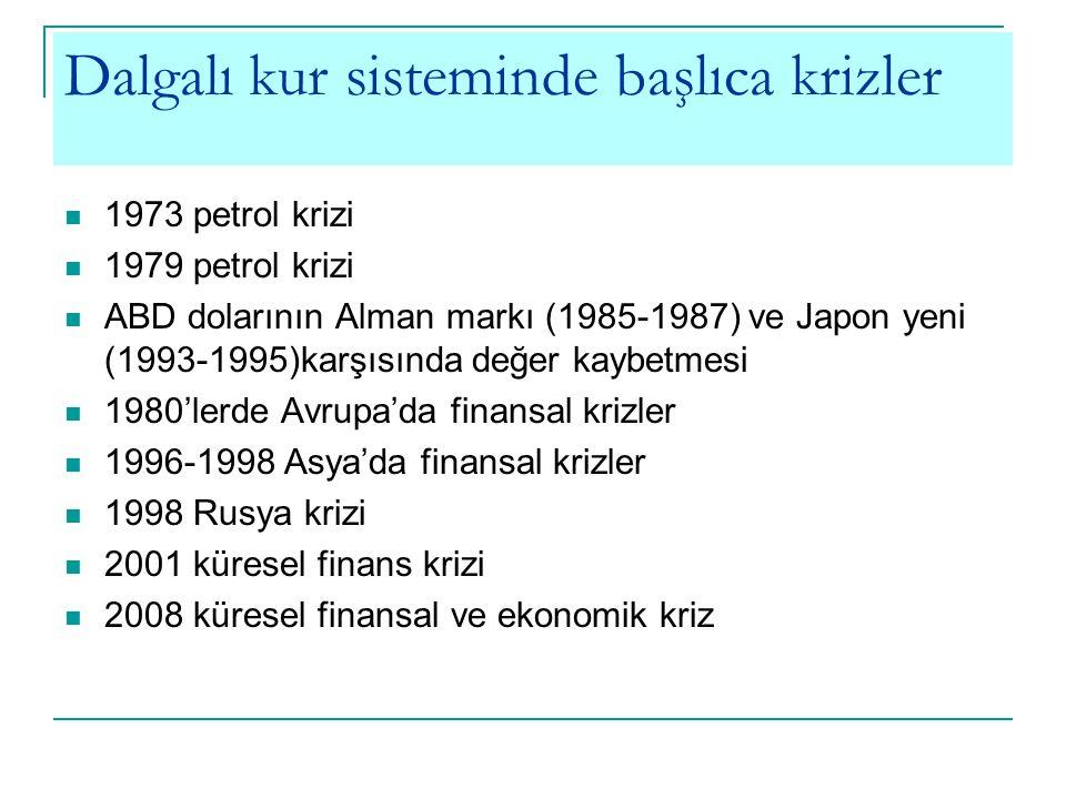 Dalgalı kur sisteminde başlıca krizler 1973 petrol krizi 1979 petrol krizi ABD dolarının Alman markı (1985-1987) ve Japon yeni (1993-1995)karşısında d
