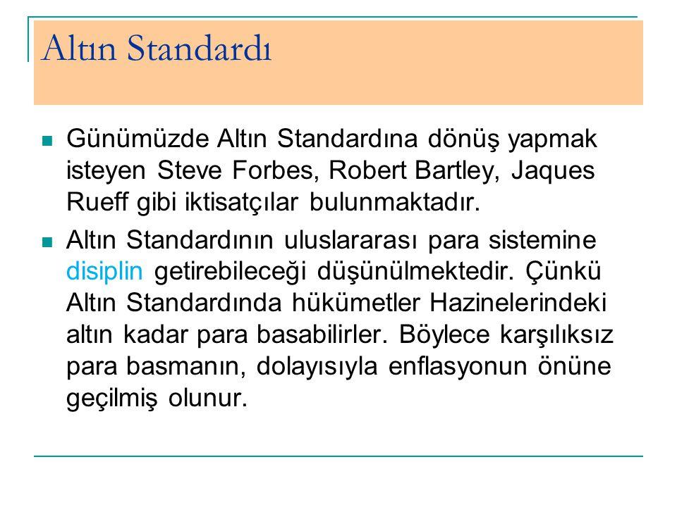 Altın Standardı Günümüzde Altın Standardına dönüş yapmak isteyen Steve Forbes, Robert Bartley, Jaques Rueff gibi iktisatçılar bulunmaktadır. Altın Sta