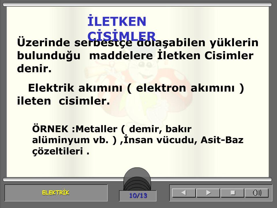 ELEKTRİK 10/13 Üzerinde serbestçe dolaşabilen yüklerin bulunduğu maddelere İletken Cisimler denir. Elektrik akımını ( elektron akımını ) ileten cisiml