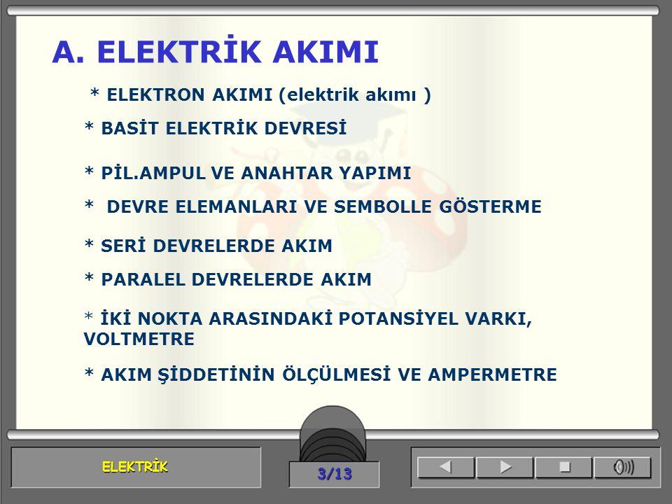 ELEKTRİK 4/13 ELEKTRİK AKIMI Elektrik akımını daha iyi kavrayabilmemiz için maddenin yapısını bilmemiz gerekir.