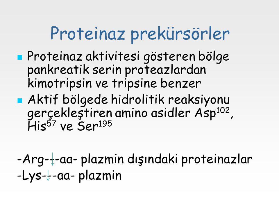 Proteinaz prekürsörler Proteinaz aktivitesi gösteren bölge pankreatik serin proteazlardan kimotripsin ve tripsine benzer Proteinaz aktivitesi gösteren