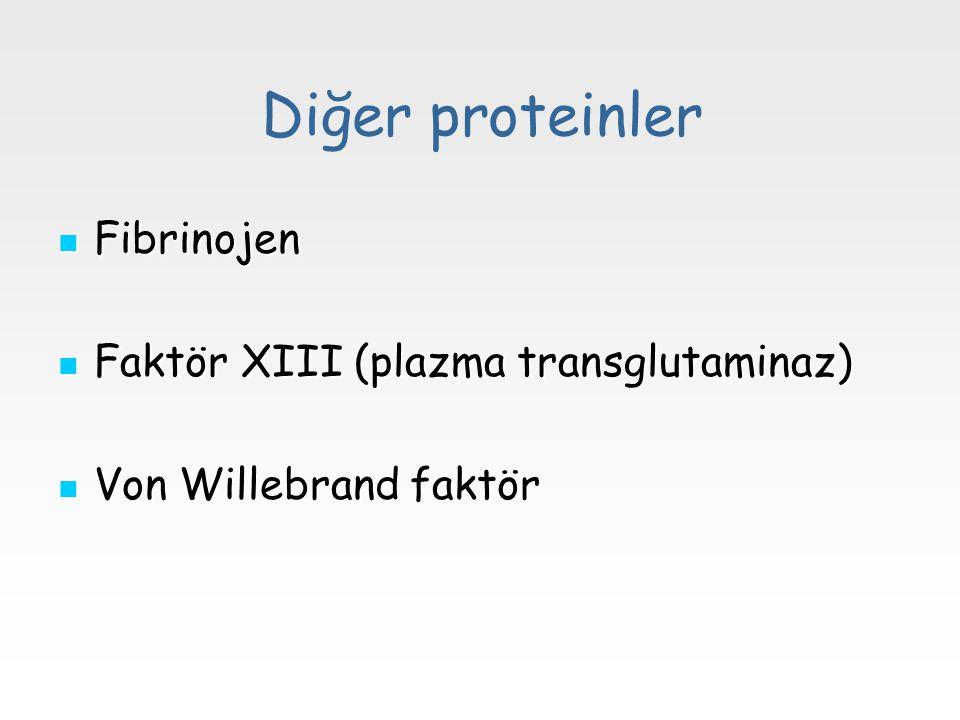 Diğer proteinler Fibrinojen Fibrinojen Faktör XIII (plazma transglutaminaz) Faktör XIII (plazma transglutaminaz) Von Willebrand faktör Von Willebrand