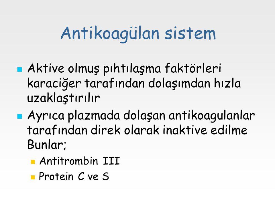 Antikoagülan sistem Aktive olmuş pıhtılaşma faktörleri karaciğer tarafından dolaşımdan hızla uzaklaştırılır Aktive olmuş pıhtılaşma faktörleri karaciğ