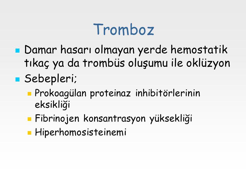 Tromboz Damar hasarı olmayan yerde hemostatik tıkaç ya da trombüs oluşumu ile oklüzyon Damar hasarı olmayan yerde hemostatik tıkaç ya da trombüs oluşu