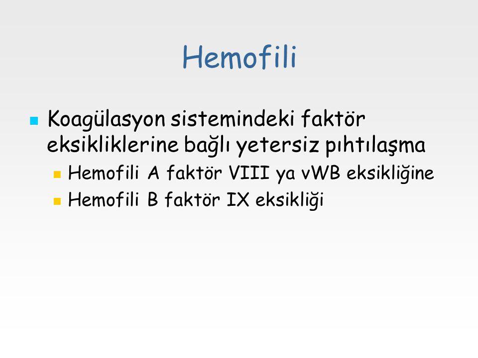 Hemofili Koagülasyon sistemindeki faktör eksikliklerine bağlı yetersiz pıhtılaşma Koagülasyon sistemindeki faktör eksikliklerine bağlı yetersiz pıhtıl