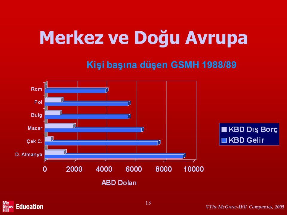 © The McGraw-Hill Companies, 2005 13 Merkez ve Doğu Avrupa Kişi başına düşen GSMH 1988/89