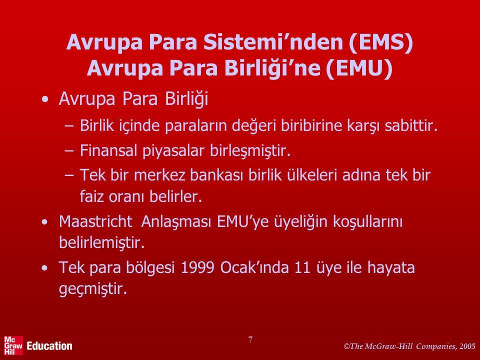 © The McGraw-Hill Companies, 2005 7 Avrupa Para Sistemi'nden (EMS) Avrupa Para Birliği'ne (EMU) Avrupa Para Birliği –Birlik içinde paraların değeri biribirine karşı sabittir.