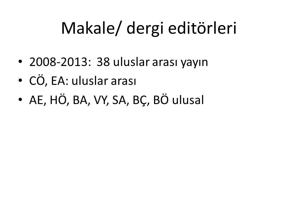Makale/ dergi editörleri 2008-2013: 38 uluslar arası yayın CÖ, EA: uluslar arası AE, HÖ, BA, VY, SA, BÇ, BÖ ulusal