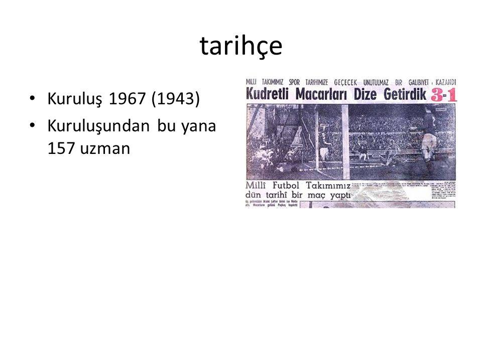 tarihçe Kuruluş 1967 (1943) Kuruluşundan bu yana 157 uzman