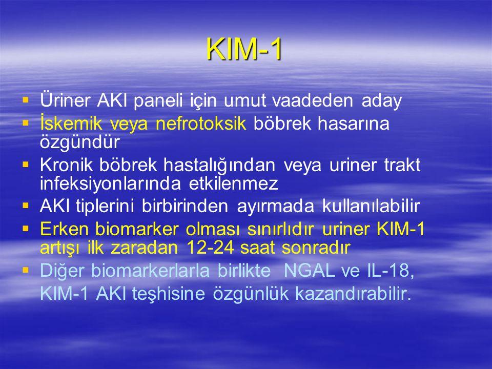 KIM-1   Üriner AKI paneli için umut vaadeden aday   İskemik veya nefrotoksik böbrek hasarına özgündür   Kronik böbrek hastalığından veya uriner