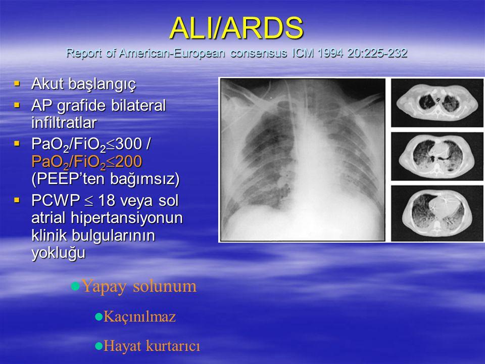 ALI/ARDS Report of American-European consensus ICM 1994 20:225-232  Akut başlangıç  AP grafide bilateral infiltratlar  PaO 2 /FiO 2  300 / PaO 2 /