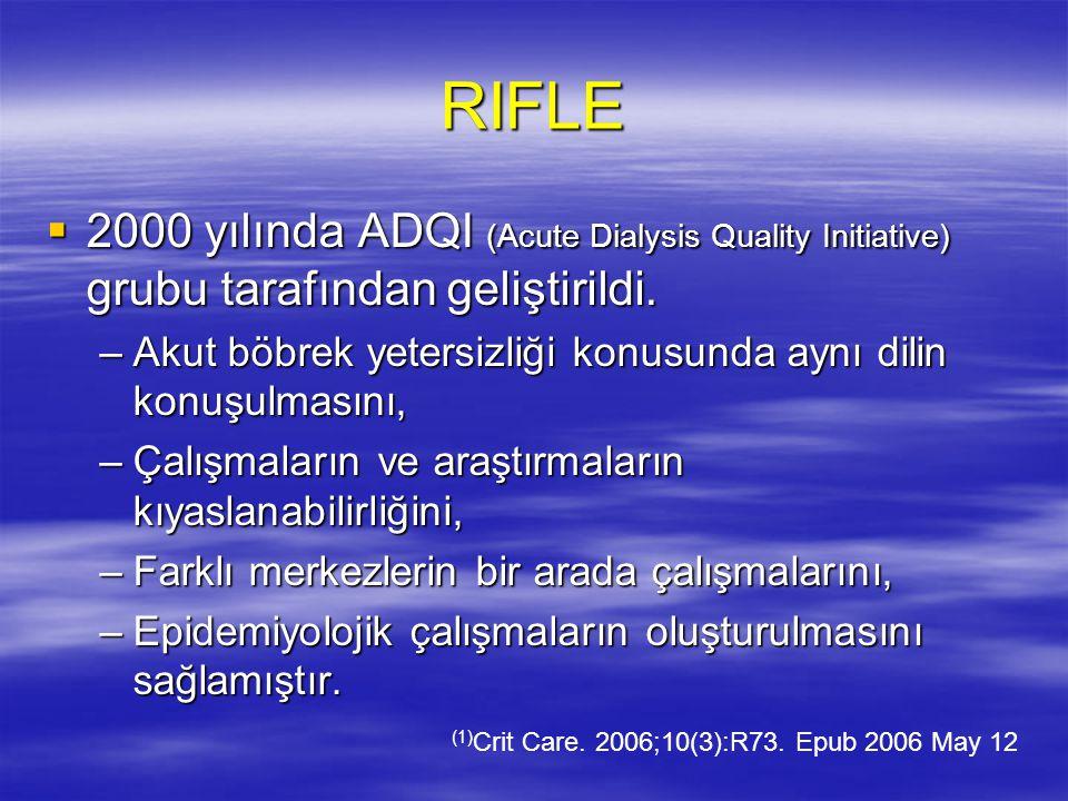 RIFLE SINIFLAMASI AMACI  Böbrek yetmezliğinin değerlendirilmesi  Böbrek yetmezliğinin evrelenmesi  İnsidans belirlemek (1)  MORTALİTE ile korele (2) (1) Intensive Care Med.