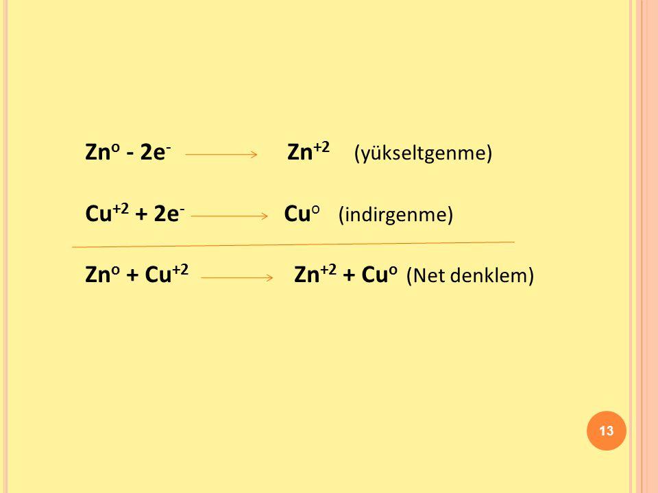 13 Zn o - 2e - Zn +2 (yükseltgenme) Cu +2 + 2e - Cu o (indirgenme) Zn o + Cu +2 Zn +2 + Cu o (Net denklem)