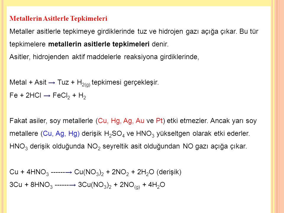 17 Metallerin Asitlerle Tepkimeleri Metaller asitlerle tepkimeye girdiklerinde tuz ve hidrojen gazı açığa çıkar.