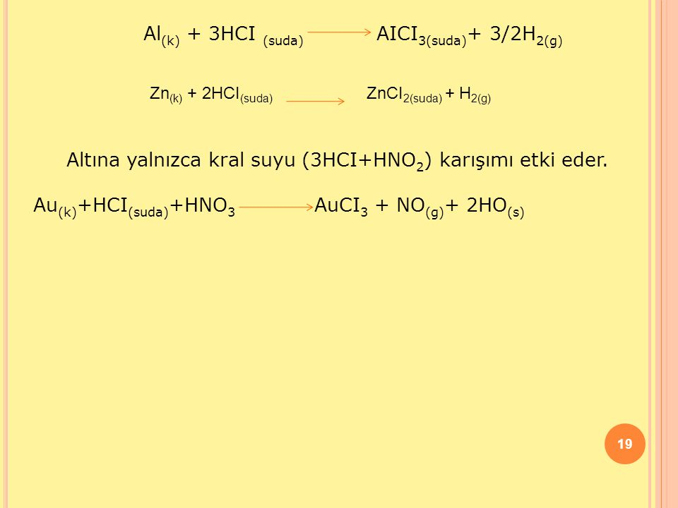 19 Al (k) + 3HCI (suda) AICI 3(suda) + 3/2H 2(g) Zn (k) + 2HCI (suda) ZnCI 2(suda) + H 2(g) Altına yalnızca kral suyu (3HCI+HNO 2 ) karışımı etki eder.