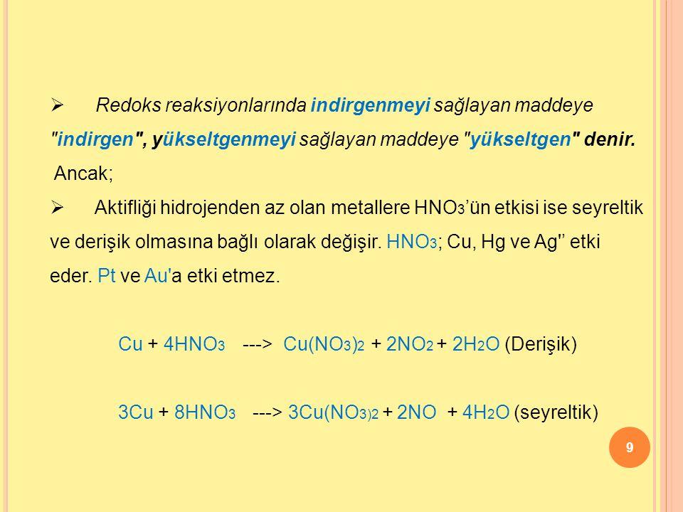 9  Redoks reaksiyonlarında indirgenmeyi sağlayan maddeye indirgen , yükseltgenmeyi sağlayan maddeye yükseltgen denir.