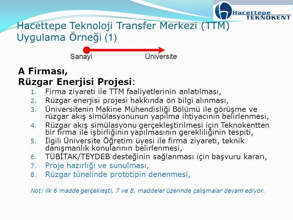 Hacettepe Teknoloji Transfer Merkezi (TTM) Uygulama Örneği (1) A Firması, Rüzgar Enerjisi Projesi: 1. Firma ziyareti ile TTM faaliyetlerinin anlatılma