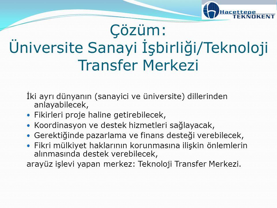Çözüm: Üniversite Sanayi İşbirliği/Teknoloji Transfer Merkezi İki ayrı dünyanın (sanayici ve üniversite) dillerinden anlayabilecek, Fikirleri proje ha