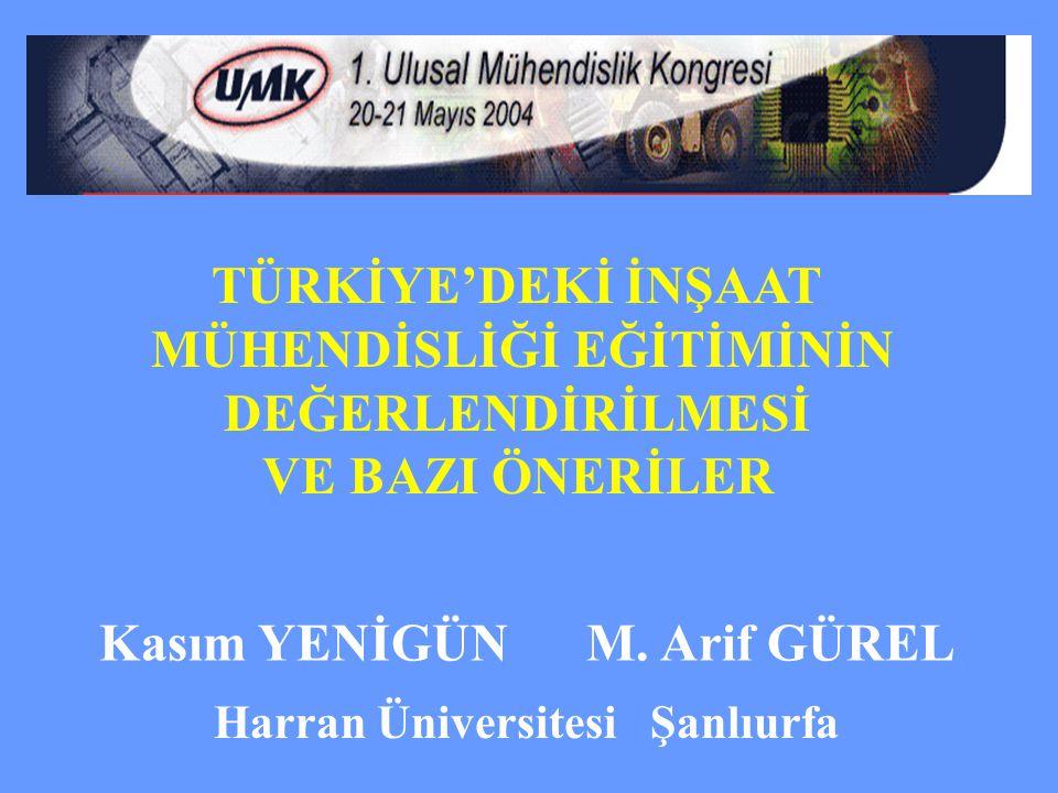 TÜRKİYE'DEKİ İNŞAAT MÜHENDİSLİĞİ EĞİTİMİNİN DEĞERLENDİRİLMESİ VE BAZI ÖNERİLER Kasım YENİGÜN M. Arif GÜREL Harran Üniversitesi Şanlıurfa