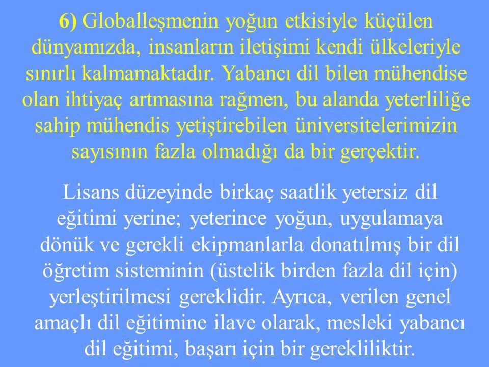 6) Globalleşmenin yoğun etkisiyle küçülen dünyamızda, insanların iletişimi kendi ülkeleriyle sınırlı kalmamaktadır. Yabancı dil bilen mühendise olan i