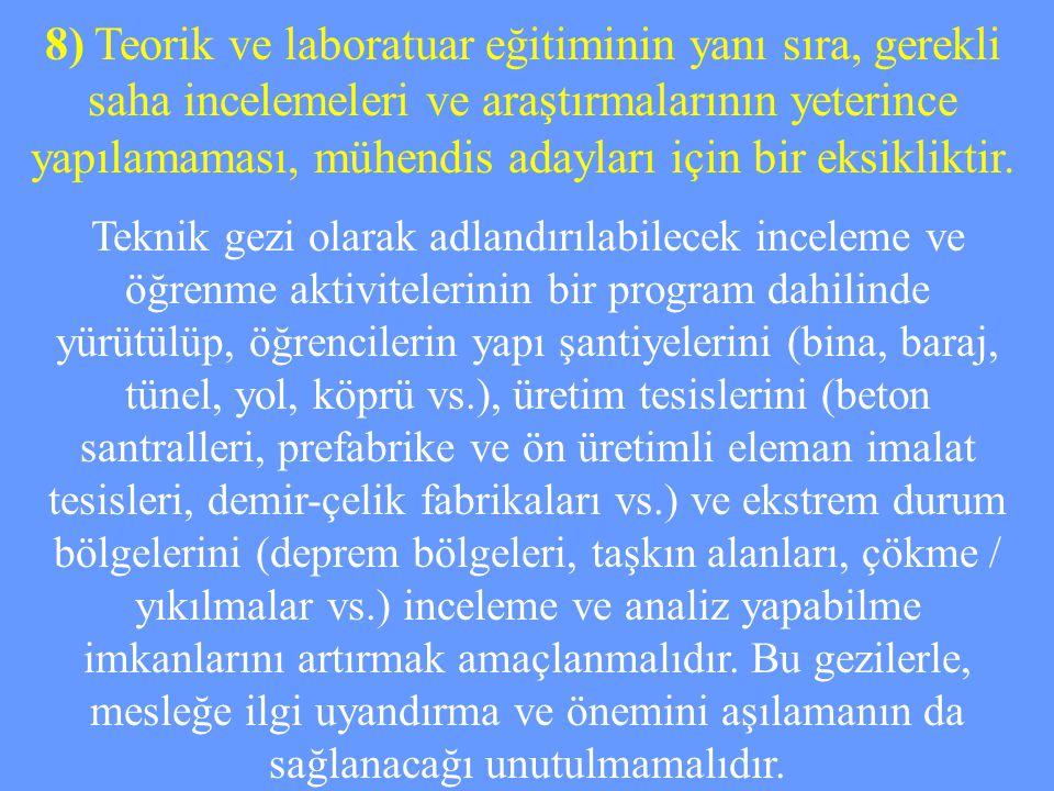 8) Teorik ve laboratuar eğitiminin yanı sıra, gerekli saha incelemeleri ve araştırmalarının yeterince yapılamaması, mühendis adayları için bir eksikli