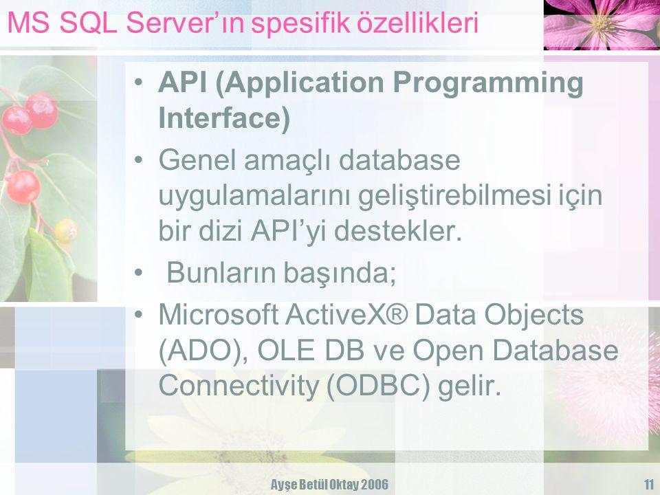 Ayşe Betül Oktay 200611 MS SQL Server'ın spesifik özellikleri API (Application Programming Interface) Genel amaçlı database uygulamalarını geliştirebi