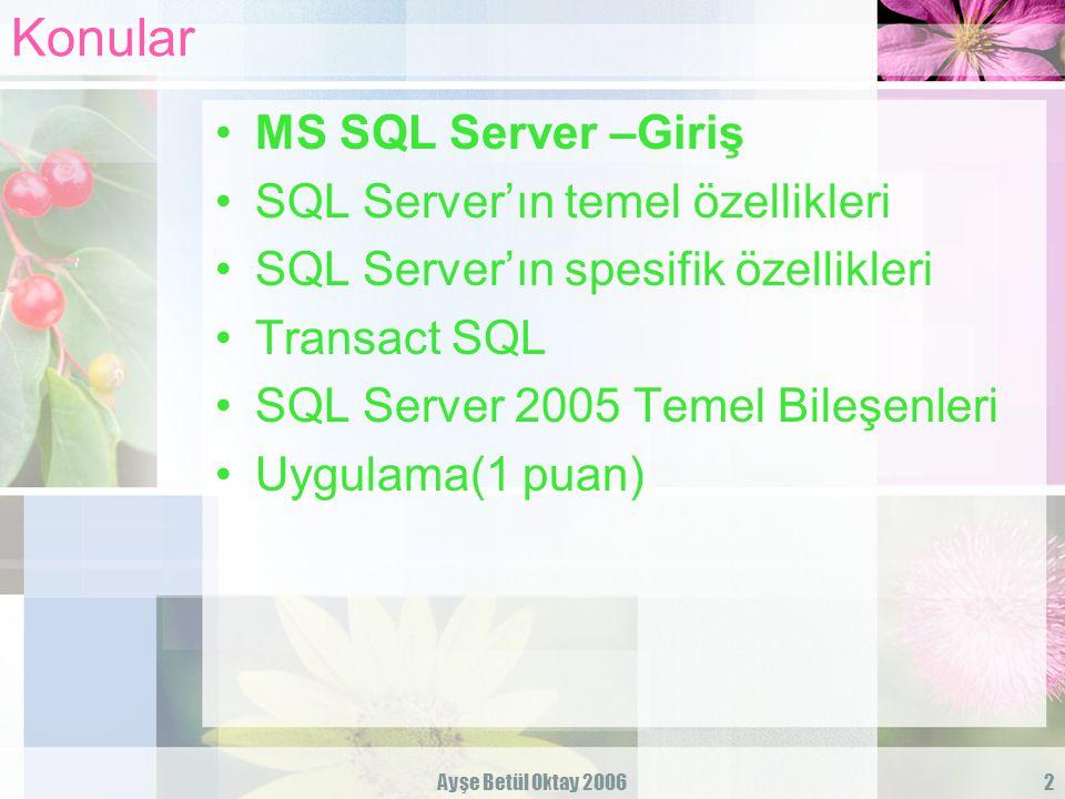 Ayşe Betül Oktay 200613 MS SQL Server'ın spesifik özellikleri Görev programlama ve mesajlama Yedekleme, replikasyon gibi belli görevlerin tanımlanmasını ve istenilen zamanlarda çalıtırılmasını sağlar.