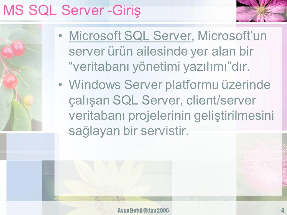 Ayşe Betül Oktay 20065 MS SQL Server -Giriş » Database Sistemi:birçok kullanıcı tarafından kullanılan birbirleriyle ilişkili geniş bir veri kümesinin düzenlenmesi, depolanması ve sorgulanması için kurulan sistemdir.