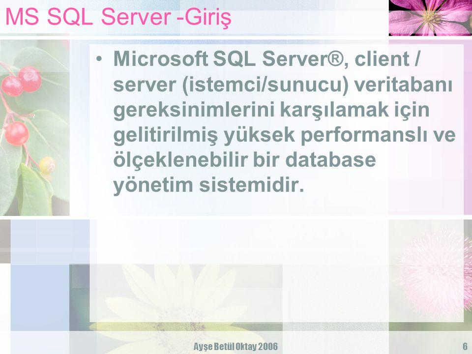 Ayşe Betül Oktay 200617 Transact-SQL Örnek bir SELECT cümlesi: SELECT mkodu, tarih, fiyat FROM siparis WHERE tarih BETWEEN 1/1/2006 AND 31/12/2006