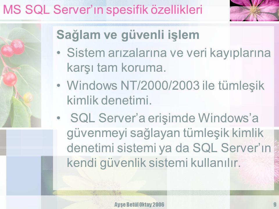 Ayşe Betül Oktay 20069 MS SQL Server'ın spesifik özellikleri Sağlam ve güvenli işlem Sistem arızalarına ve veri kayıplarına karşı tam koruma. Windows
