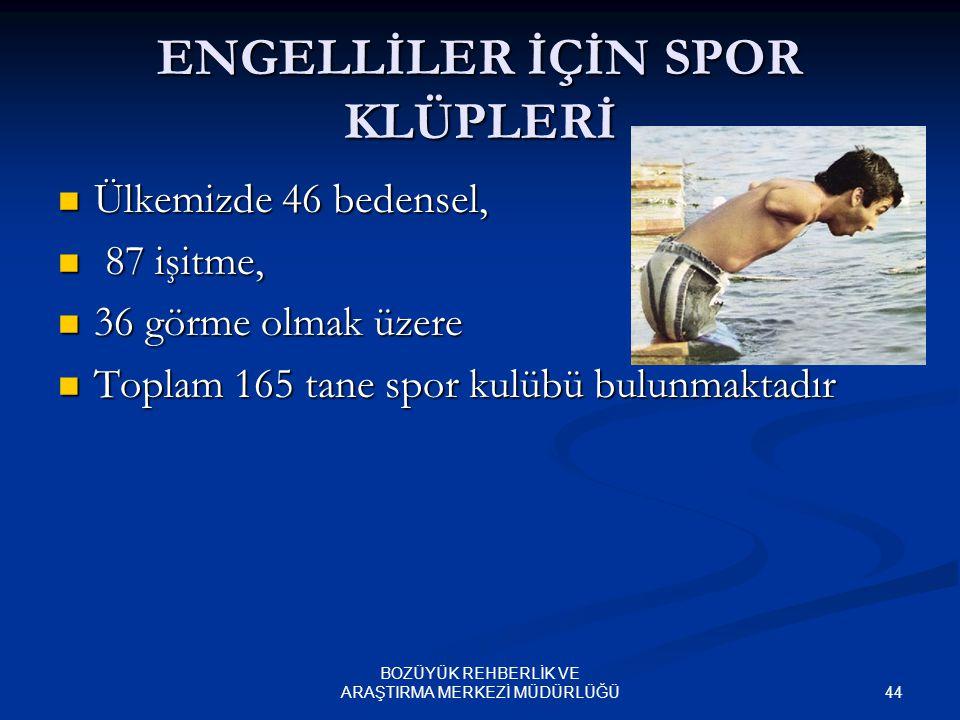 43 BOZÜYÜK REHBERLİK VE ARAŞTIRMA MERKEZİ MÜDÜRLÜĞÜ ENGELLİLERİN KURDUĞU STK'LAR Türkiye'de engelli haklarını koruyan, yardımda bulunan 356 dernek, 35
