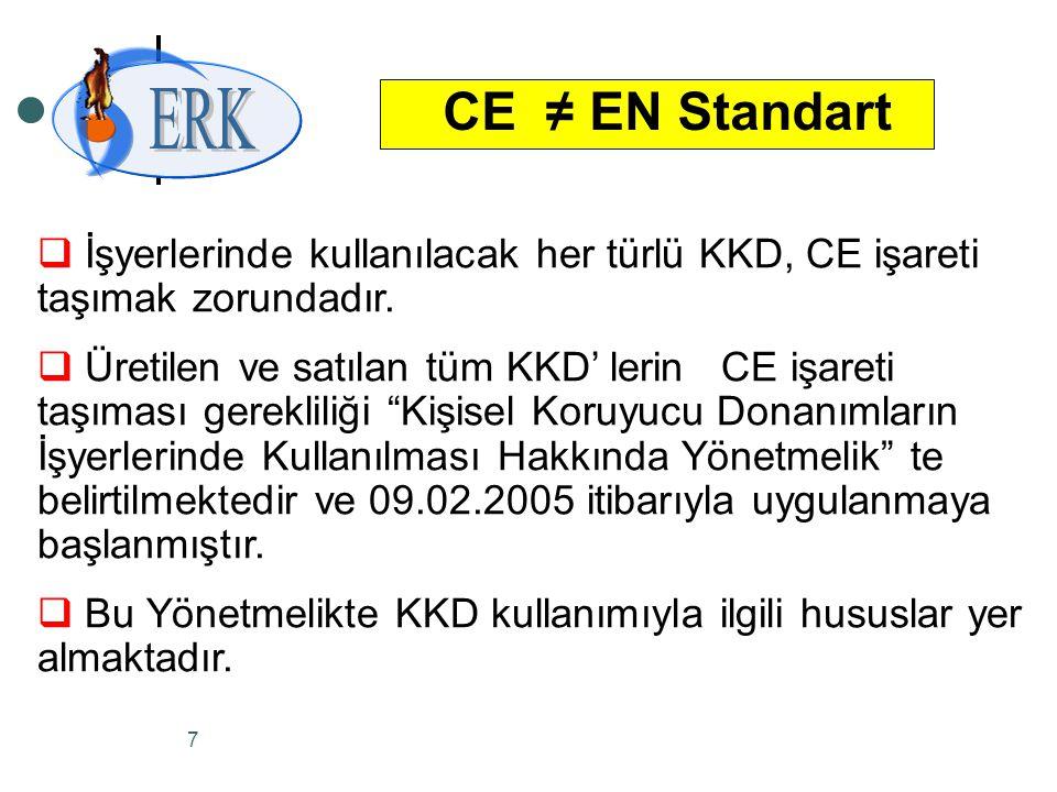 6 CE ≠ EN Standart  EN Standartları ; Avrupa'daki Standart Otoritelerinin oluşturduğu komitelerin kabul ettiği teknik standartlardır.