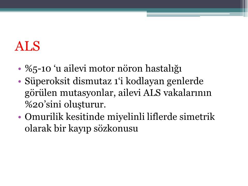 ALS %5-10 'u ailevi motor nöron hastalığı Süperoksit dismutaz 1'i kodlayan genlerde görülen mutasyonlar, ailevi ALS vakalarının %20'sini oluşturur. Om