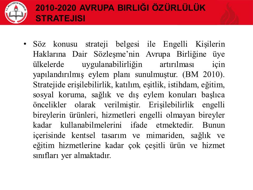 2010-2020 AVRUPA BIRLIĞI ÖZÜRLÜLÜK STRATEJISI Söz konusu strateji belgesi ile Engelli Kişilerin Haklarına Dair Sözleşme'nin Avrupa Birliğine üye ülkel