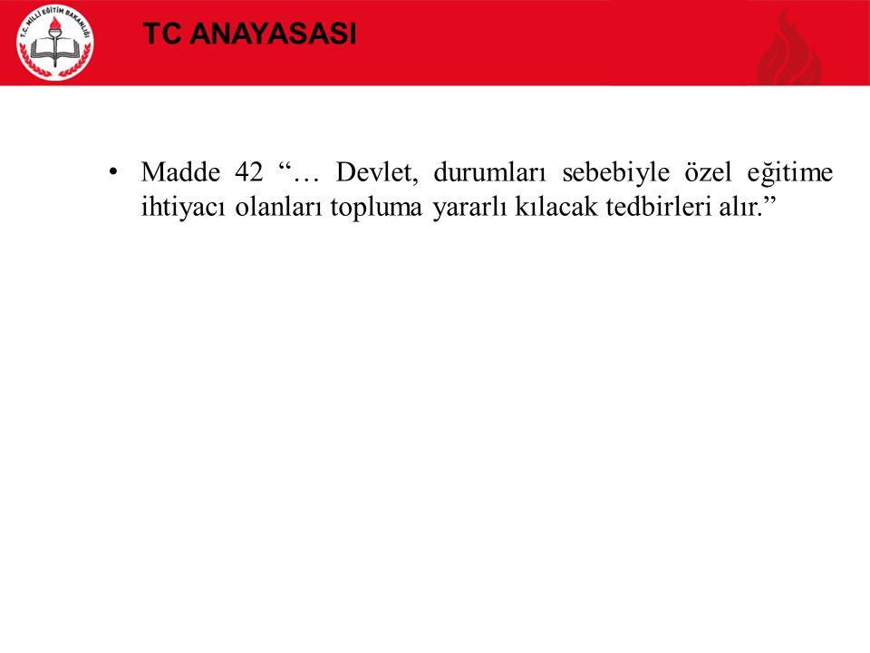 """TC ANAYASASI Madde 42 """"… Devlet, durumları sebebiyle özel eğitime ihtiyacı olanları topluma yararlı kılacak tedbirleri alır."""""""